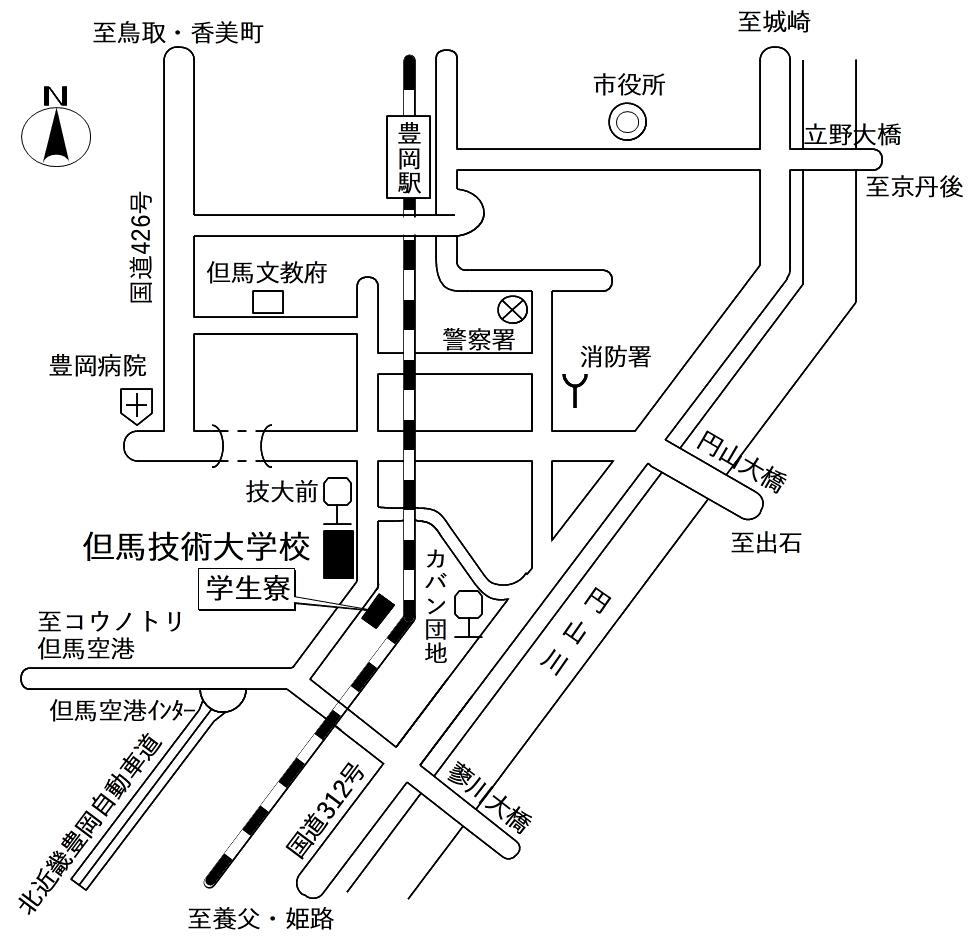 兵庫県立但馬技術大学校周辺の地図